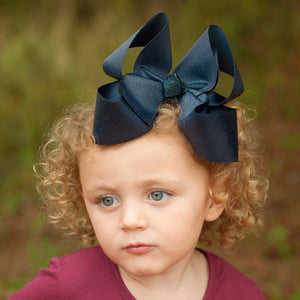 Big Navy Glitter Bow