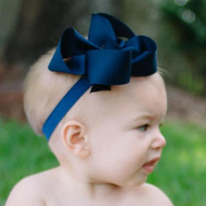 Big navy baby bow headband boutique bow