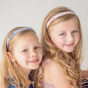 Personalized seersucker narrow hard headbands for girls