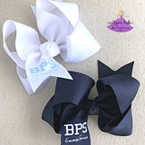 Custom School Hair Bows with Embroidered School Letters and Personalization