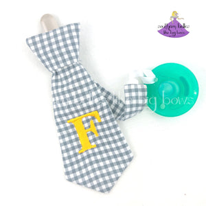 Gray Plaid Checked Necktie Pacifier Clip with Initial Letter for Baby Boy