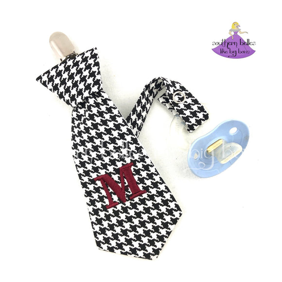 Personalized Houndstooth Necktie Pacifier Clip for Alabama Fan