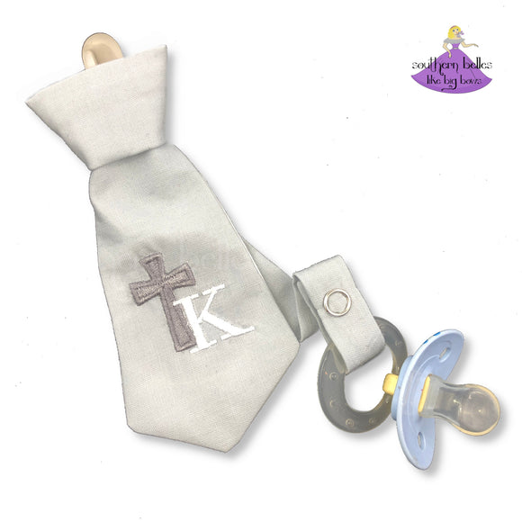 Personalized Easter Necktie Pacifier Clip for Boy with Cross and Initial Letter