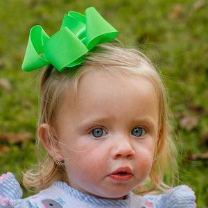 Bright neon green boutique hair bow for girls