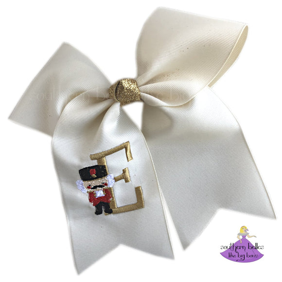 Nutcracker Christmas Cheer Bow Personalized with Initial Letter