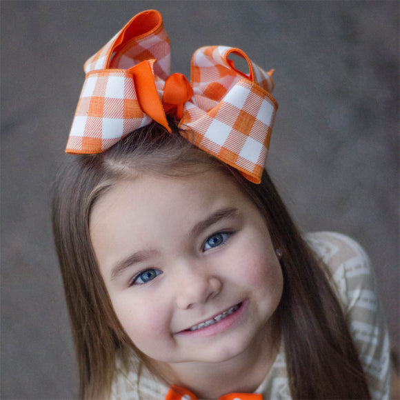 Orange and White Checked Hair Bow