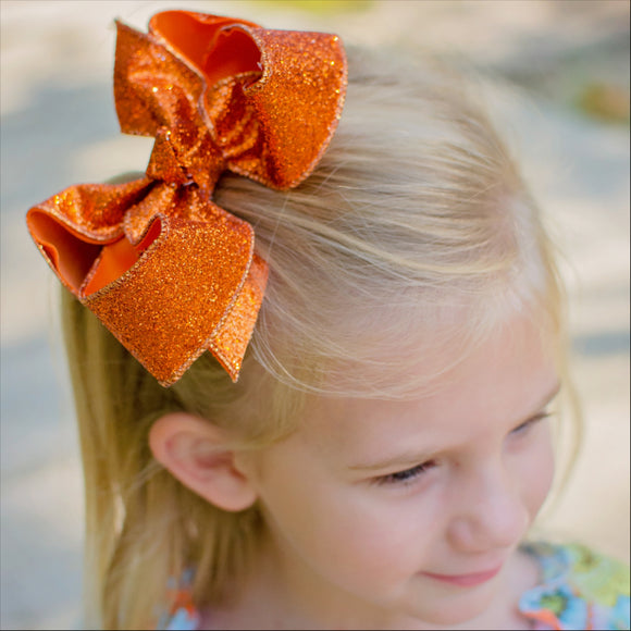 Medium Orange Glitter Bow