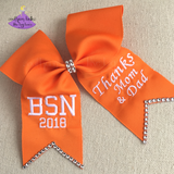 Custom graduation cap bow with thank you message