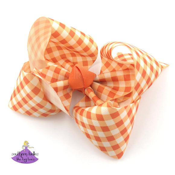 Orange Plaid Hair Bow for Girl for Fall in Orange and Ivory Checked Ginham