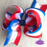 Big Pascagoula Panthers Bow with Rhinestones