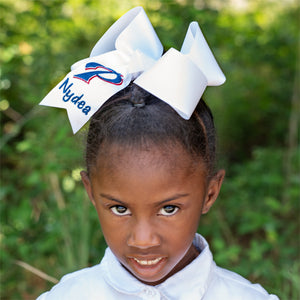 White Pascagoula Glitter Hair Bow