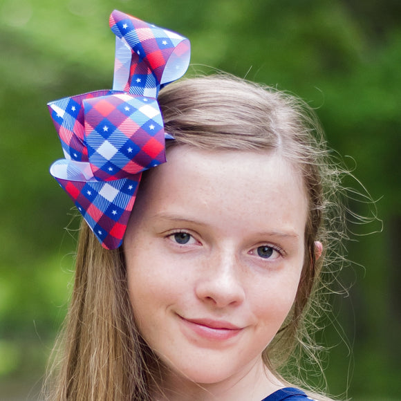 Large Plaid Bow in Red, White and Blue with Stars