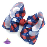 Patriotic Plaid Boutique Hair Bow for Girls