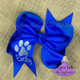 Blue Bow with Paw Print