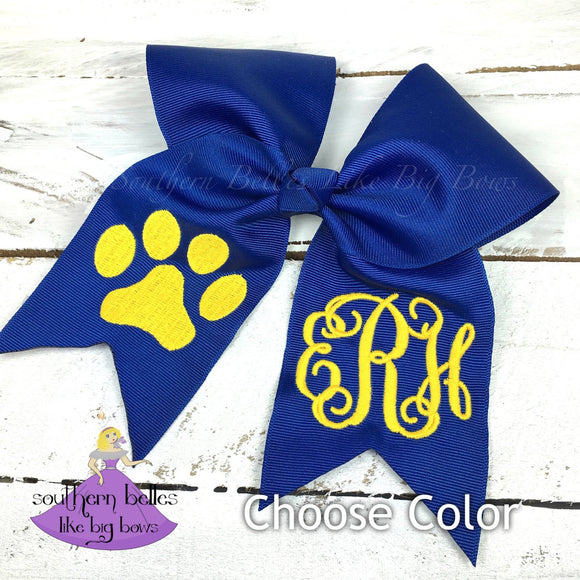 Paw Print Cheer Bow (Multiple Colors)