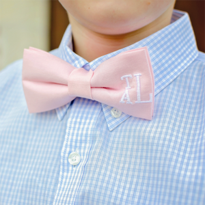 Pink bow tie personalized with monogram for babies, boys and men