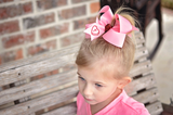 Valentine's Day Boutique Hair Bow Personalized with Initial Letter in Candy Heart