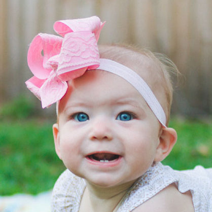 Pink lace baby headband bow