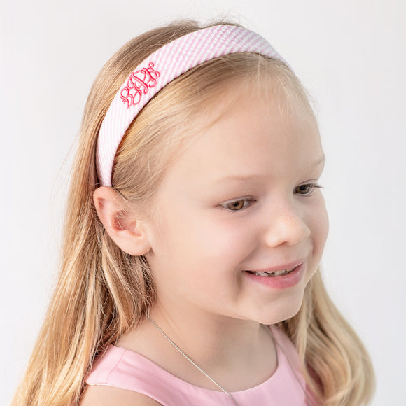Personalized pink seersucker hard headband with embroidered monogram