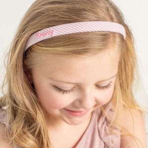 Personalized pink seersucker narrow headband with name for Easter
