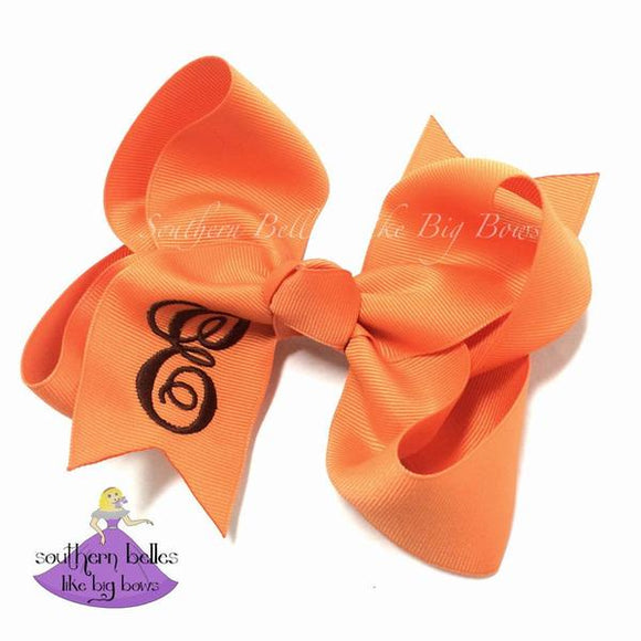 Fall Colors Script Initial Letter Bow (Various Colors & Sizes)