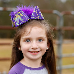 Big Purple Mardi Gras Boutique Bow with Feathers
