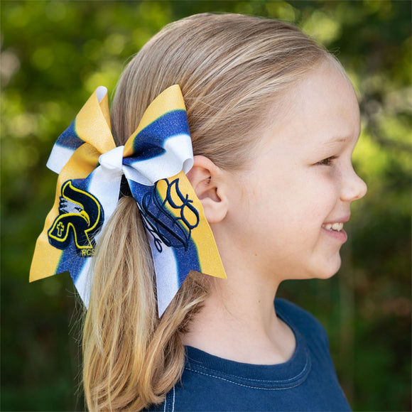 RCS Navy/Gold/White Glitter Cheer Bow
