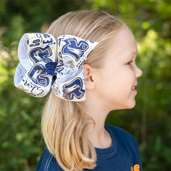 RCS Print Glitter Hair Bow - Large