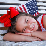 Big red hair bow for fourth of july, memorial day, or veterans day