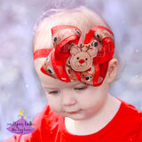 Red Christmas baby headband with reindeer and glitter