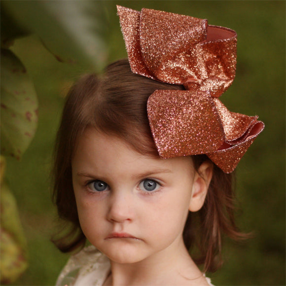 Large Rose Gold Glitter Boutique Bow for Girl