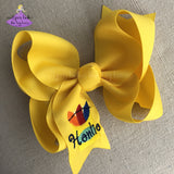 Big Yellow Crayon Hair Bow Personalized for Back to School