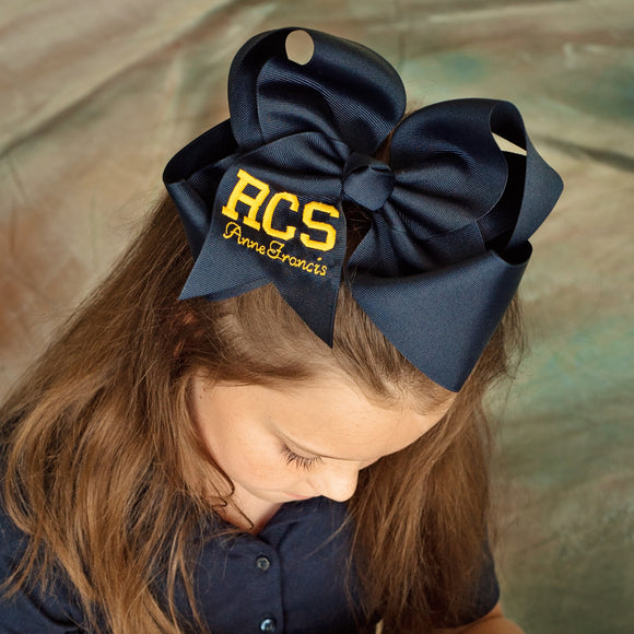 Jumbo back to school hair bow personalized with school letters and first name in a variety of colors