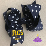 Navy Polka Dot Custom School Spirit Bow