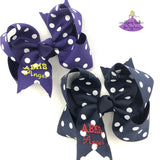 Custom school letters hair bow personalized with name and school letters available in a variety of polka dots