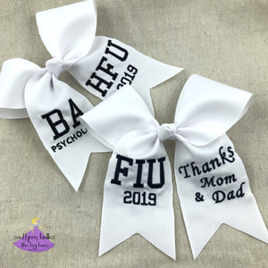Custom graduation cap topper bows personalized with degree or school letters and thank you message