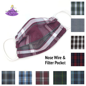 School uniform plaid fabric face mask with personalization options for a child or teen