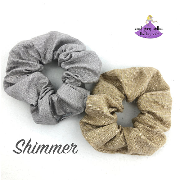 gold and silver shimmer sprarkle scrunchies