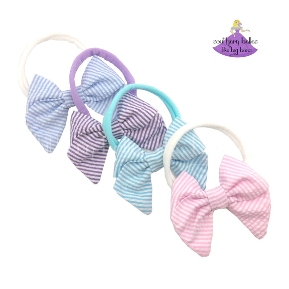 Baby Headband Bows Fabric Striped Seersucker on Nylon Bands