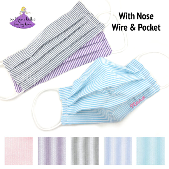 Personalized Seersucker fabric face mask with filter pocket and three layers with personalization options in lavender, grey, or aqua