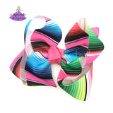 Summer Serape Boutique Hair Bow with Bright Stripes