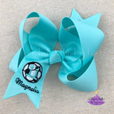 Aqua Soccer Bow Personalized with name and team number