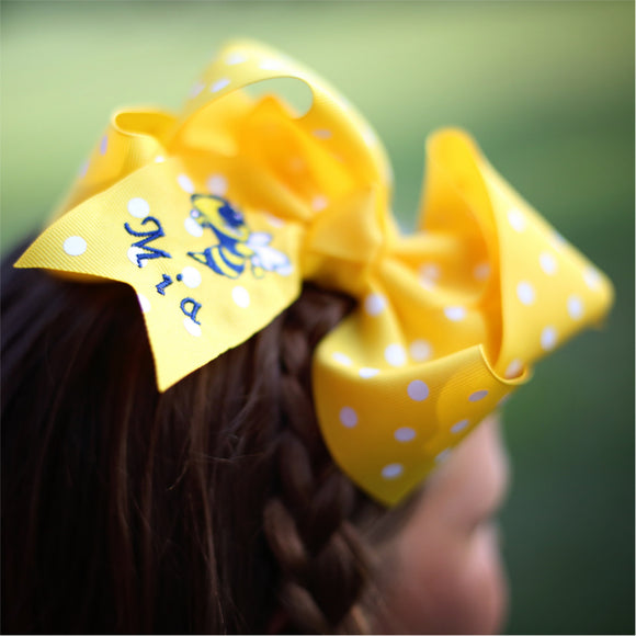 Personalized Yellow Polka Dot St. Martin Yellow Jacket Bow