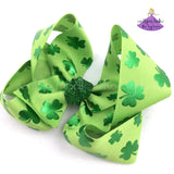 St Patricks Day Hair Bow with Metallic Green Shamrocks Clovers