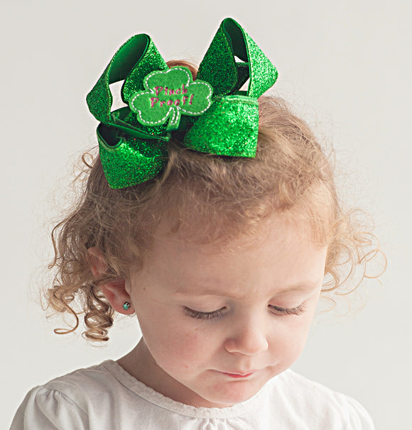 Green Glitter St. Patrick's Day Hair Bow for Girl