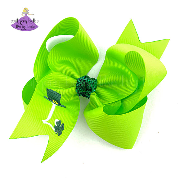 Bright Neon Lime Green Personalized St. Patrick's Day Hair Bow
