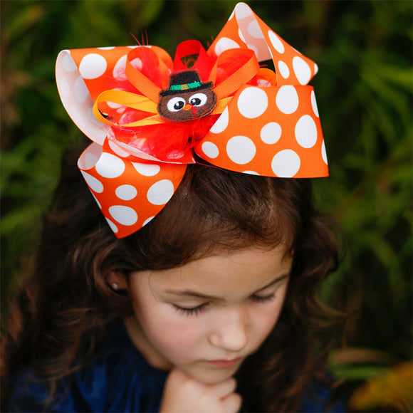 Big Thanksgiving Hair Bow with Turkey Center in Orange and White Polka Dots