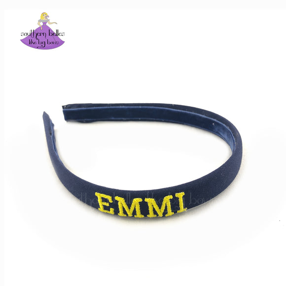 Navy Blue Personalized Thin Headband for School with School