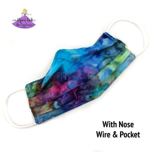 Tie Dye Fabric Face Masks with Nose Wire and Filter pocket, reusable and washable