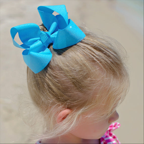 Turquoise Glitter Bow - Small to Medium